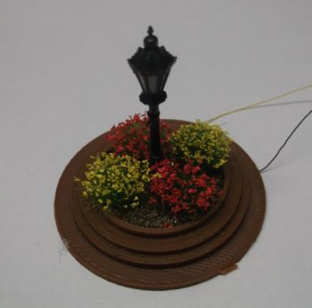 Ornamental Flowerbed with Lamppost